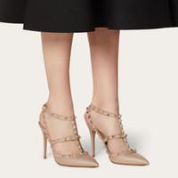 Женщины Rock Stiletto каблуки платье для каблуки T-ремешок Слингбаки свадебные заклепки запатентованные кожаные шпильки 10см 8 см 6 см высокие каблуки сандалии