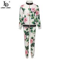 Дизайнер LD LINDA DELLA Осень мода Брюки 2 Две пьесы наборов ЖЕНСКИХ Vintage Rose Flower печать пальто и элегантные брюки костюмов