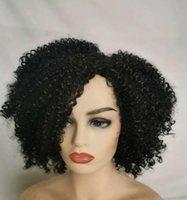 Высококачественное волокно короткие афро странные кудрявые кружевные парики для чернокожих женские термостойкие беззвучные синтетические кружевные фронтские парики