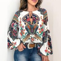 Plus Size Women Blouse Summer Tops Casual Floral Print Blusa Lantern Sleeve Top Printed Loose Pullover O-Neck Top Blouse #524