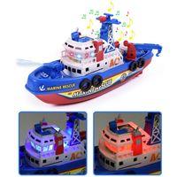 Rc سيارة الأطفال الكهربائية عالية السرعة الموسيقى الخفيفة قارب البحرية الإنقاذ نموذج النار زورق اللعب للأولاد رذاذ المياه النار التعليمية لعبة