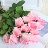 Fake Rose Rose Flower Real Touch Valentine's day Party Decorative Bouquet Artificial Wedding Latex 11PCS Lot Pink
