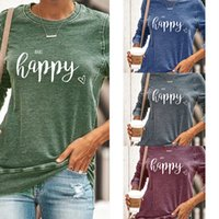 E-Baihui 2020 European and American New Women's Clothing Round Neck Long Sleeve Pullover Blouse Casual Letter Printed Sweater FG-A2