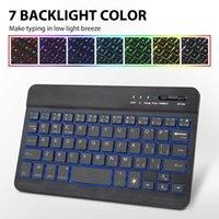 Inglese ultrasottile tastiera 7 colori retroilluminato a LED tavoletta wireless Bluetooth per Mac OS Android Windows Tablet Phone