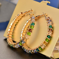 New Fashion Trendy Women Earrings Jewelry Yellow Gold Plated CZ Big Earrings Hoops for Girls Women Nice Gift
