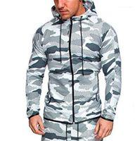 Color Plus Sizen Mens Camouflage Coat Sportswear Sports Fitness Long Sleeve Hooded Mens Sweatshirts With Zipper Contrast