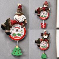 Colgante de la Navidad del reloj de Santa Claus muñeco de nieve de la pared de colgante del reloj Feliz Navidad Inicio del restaurante del dormitorio Relojes Decoración LJJP295