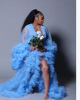 الكشكشة كيمونو النساء اللباس ضوء السماء الزرقاء رداء ل photoshoot اضافية منتفخ الأكمام حفلة موسيقية العباءات الأفريقية الرأس عباءة الأمومة اللباس التصوير