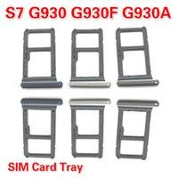 10PCS / LOT Schwarz / Gold / Silber-SIM-Karten-Behälter-Schlitz-Halter für Samsung-Galaxie S7 G930 G930F G930A Single / Dual-High Quality