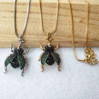 Cadenas 6 piezas Micro Pave CZ Cz verde Zircon Lucanidae Insecto Charm Colgante Hallazgos Hallazgos DIY Collar para mujeres 355