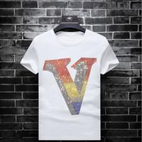 2019 Sommer-Modemarke Art und Weise dünner Jugend halbe Hülse T-Shirt der Männer kurze Ärmel heißen Diamant Männer große Größe Kleidung