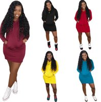 Women Dress Fashion Solid Color Hooded Sweater Dresses Long ...