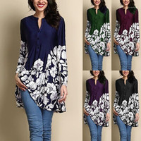 Designer Printed Dress Shirt Womens Fashion Plus Size Tops L...