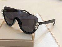 Yeni Lüks Tasarımcı Kadınlar Güneş 0296 Yarım çerçeveli İnci Güneş Gözlükleri Trend Avangart Tasarım Stil Üst Kalite Gözlük VU400 Koruma