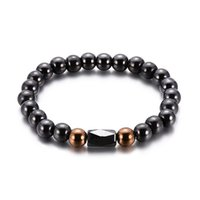 cristal noir hématite bracelets magnétiques pierre bracelet aimant Bangles hip hop bijoux de mode bracelets de perles