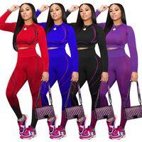 женщин осень-зима Tracksuit 2 два кусок одежды набор тонкий длинный рукав верхней растениеводство леггинсы брюки йога спортивные костюмы спортивная одежда плюс размер одежды