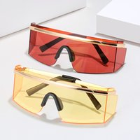 Fashion One Piece Lens Goggle Style Rimless Protective Sungl...
