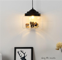 Glass animal chandelier creative glass chandelier bedroom re...