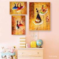 Pittura Spanish Dance olio d'epoca Poster e Stampe Wall Art Immagini Spagna Ballerino Illustrazione arte della tela di canapa Pittura Home Decor