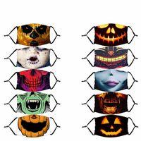 Clown Nez Bouche Halloween Citrouilles poussière Masques visage avec filtre Mascarilla Ghost dents Effrayant Mascherine personnalisé réutilisable mode 4 2XT C2