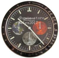 11 Stil Wanduhr 34 cm x 5 cm 2kg 18 Karat Edelstahl Quarz Chronograph Blau Lumineszenz Home Decoration Uhr 2020