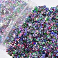 Tırnak Glitter 1 Pack / 50g Holo Mermaid Pullar Madeni Madeni Mix Sanat Sequins UV Jel Polonya Manikür Için Krom Tozu ##