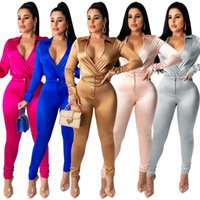 Free shipping sexy Ladies long- sleeved trouser suit casual w...