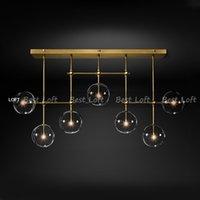 lustre bola design moderno vidro 6 cabeças lustre bolha lâmpada de vidro transparente para sala de estar cozinha preto luminária / gold