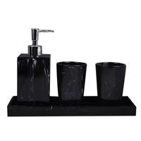 Texture marbre Fournitures de bain Noir 4pcs résine Accessoires de bain avec distributeur de savon Porte-brosses à dents Distributeur