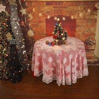 Рождественский стол Ткань Обложка White Vintage Lace Скатерть Главная партия Xmas Декор Новогоднее украшение Navidad Droshipping