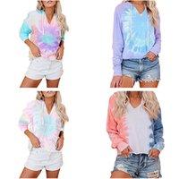 Kadınlar Tasarımcı Kapüşonlular Moda Gradient Renk Uzun Kollu Kazak Bluz Kızlar Hip Hop tişört Kapşonlu Kazak Tişörtü CZ8241 Tops