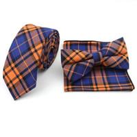 Erkekler için Mens% 100 Pamuk Tasarımcı Sıska Çizgili Ekose Yumuşak Cep Kare Mendil Kelebek Bow Tie 6cm Kravatlar Suits Setleri