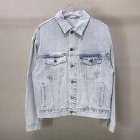 los hombres de alta calidad de impresión jeans ajustados apropiado moda vaquera tamaño capa de la chaqueta de los hombres de la chaqueta S XL