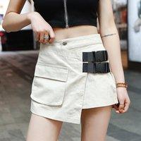 Şort Kadınlar Yaz Yüksek Bel cepler Geniş Bacak bayanlar sıcak Kısa Streetwear tüm maç kısa femme