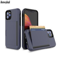Armure antichocs PC TPU stand flip Wallet Case pour iPhone 11 Pro Max iPhone11 11Pro ID carte de crédit Slots Holder Cover