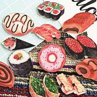 ملصقات الحائط السوشي سلسلة الاكريليك الثلاجة المغناطيس دونات الثلاجة مخصص diy ديكور المطبخ