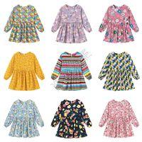 디자이너 어린이 봄 아기 소녀 드레스 패션 소녀 공주 드레스 귀여운 긴 소매 원피스 드레스 플로라 스트라이프 의류 D82005 인쇄하기