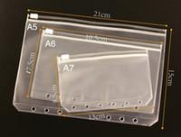 A6 Sac à glissière transparent transparent transparent A6 Tirez le côté à l'intérieur du cahier 6 trous Sac de stockage de sac à feuilles en vrac A10