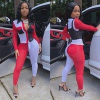 sonbahar Kadınlar Tracksuits Tam Kol Renkli blok gömlek + pantolon takım elbise İki Adet Set 2020 Kasetli Spor takım elbise ayarlar