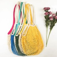 Shopping Bags Tote Mesh Net Woven Cotton Bags String Reusable Fruit Storage Bags Handbag Home Storage Bag LX3030