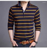 Del diseñador del Mens Polos de rayas Impreso informal camisetas de manga larga delgada del contraste del color de moda para hombre gira el collar abajo Tops