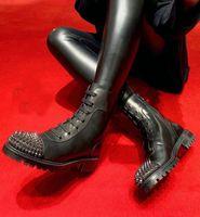 Moda de invierno TS CROC Botas Mujeres inferior rojo las botas del tobillo Señora botines Negro becerro de cuero con pinchos planta del pie Botas Botas de motos