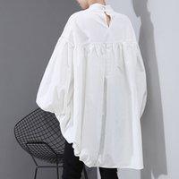 [EAM] Женщины Назад Long кулиской Большой размер Блуза Новый Satnd воротником с длинным рукавом Сыпучие Fit рубашка Мода весна осень 1N242 200924