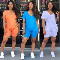 Спортивные костюмы Sumemr Женщина двухкусочные наряды вскользь сплошной цвет с коротким рукавом из двух частей Брюки летних женщин
