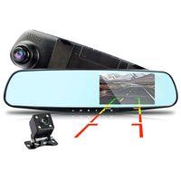 Carro DVR Câmera Dual Lente Full HD 1080P Retrovisor Espelho 4.3 Polegada IPS Tela Digital Video Recorder Dash CAM