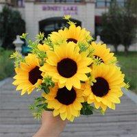 """ホット偽ひまわり(7頭/房)11.81 """"長さシミュレーション黄色い花の結婚式の家の装飾的な造花"""