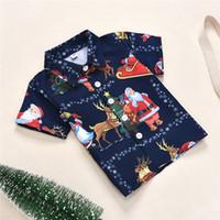 Bebek Giysileri Noel Çocuk T-Shirt Tops Yeni Yıl Noel Baba Elk Kar Tanesi Noel Ağacı Koyu Mavi Baskılı Giysi Moda Giyim