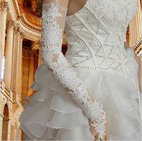 Oberhalb Ellenbogen Länge Spitze lange Brauthandschuhe Chic Hohle wulstige fingerless 2021 weiße Elfenbein-Frauen-Partei-Handschuhe Hochzeit Zubehör AL6995