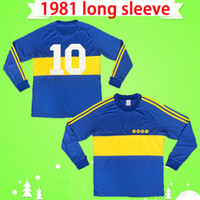 Uzun kollu Club Atletico 1981 Retro Boca Juniors futbol formaları eski futbol formaları ev mavi sarı MARADONA klasik antika camisetas
