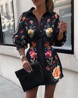 여자 꽃 블라우스 옷깃 목 셔츠 버튼 슬림 허리 봄 여름 긴 소매 패션 의류 여성을위한